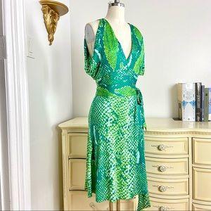 DVF Stunning Green Python Silk Wrap Dress
